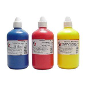 Trois peintures acryliques de 500ml Ara