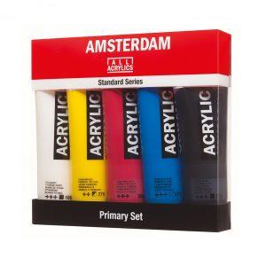 Set de 5 tubes acryliques primaire Amsterdam